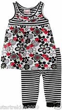 Nannette Baby Girls 2 Pc Striped/Floral Dress & Leggins Set,Sz.12,18 Months. NWT