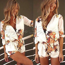 Womens Sexy Floral Mini Playsuit Ladies Jumpsuit Summer Shorts Beach Dress