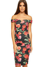 Womens Floral Print Off Shoulder Sweetheart V-Neck Ladies Stretch Bodycon Dress