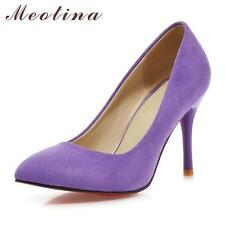 Meotina Shoes Women High Heels Ladies Shoes Flock Pointed Toe Women Pumps Shoes