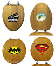 FC382 LOGO SYMBOL THEMED OAK FINISH WOOD ROUND ELONGATED TOILET SEAT COVER LID