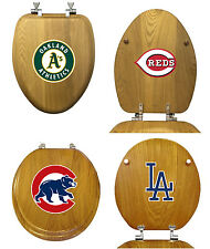 FC383 MLB LOGO TEAM THEME OAK FINISH WOOD ROUND ELONGATED TOILET SEAT COVER LID