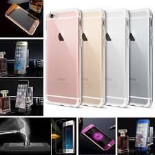 For Apple iPhone Full Screen Cover Tempered Glass Screen Protector+Silicone case