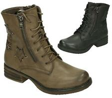 WOMENS BLACK WORKER COMBAT BIKER MILITARY LOW HEEL LACE UP ANKLE BOOTS SHOES