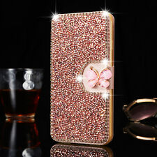 Crystal Bling Diamond Flip Leather Case Wallet Cover For iPhone & Samsung Galaxy
