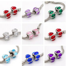 2pcs Silver European Charm crystal glass Beads Fit 925 Necklace Bracelet DIY #7