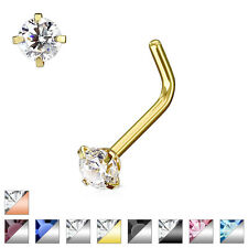 L Bend CZ Jewelled 316L Surgical Steel Nose Studs / Ring