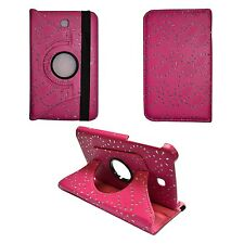 "HOT PINK GLITTER 360 ROTATING PU LEATHER 7"" INCH COVER SAMSUNG GALAXY TAB3 P3200"