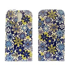 WHITE BLUE AND GREEN FLORAL PRINT FLIP LEATHER CASE FOR SAMSUNG GALAXY S4 i9500