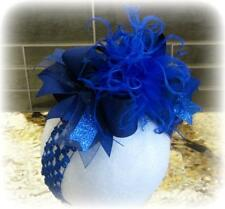 Royal Blue Over the Top Ostrich Feather hairbow OTT hair bows for baby Girls