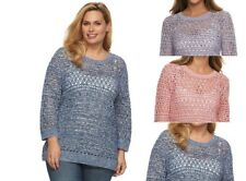 NEW Croft & Barrow Open-Work High Low Sweater Long Sleeve Crew Neck Plus sizes