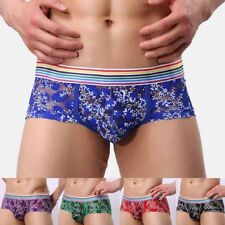 Mens Sexy Boxer Lace Shorts Briefs Underwears U Convex Flower Printing New EC C8