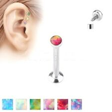 Internally threaded Surgical Steel Opal Labret Stud - Lip / Chin / Ear Cartilage