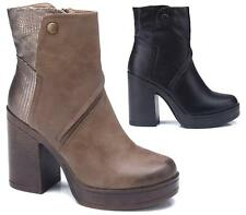 Ladies New Chelsea Chunky High Block Heel Grip Sole Ankle Boots Shoes Size 3-8