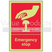 VSafety Glow In The Dark Photoluminescent Sign - Emergency Stop
