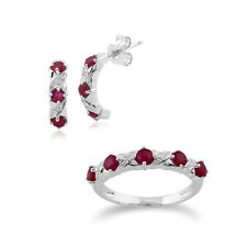9ct White Gold Ruby and Diamond Half Hoop Earring and Eternity Ring Set