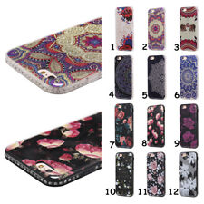 Slim Totem Flowers Crystals Soft TPU Bumper + PC Back Case Cover For Cell Phones