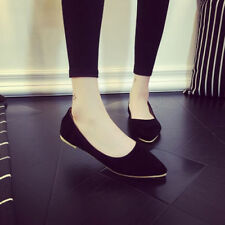 Womens Casual Pointed Toe Slip On Loafers Boat Suede Shoes Ballet Flats Shoes