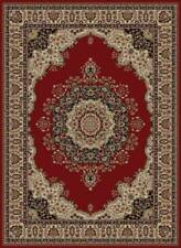 RED traditional ORIENTAL area RUG medallion FLORAL ivory BLACK persian CARPET