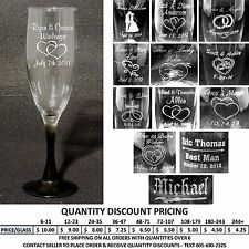 Set of 2 Personalized Toasting Flutes - Laser Engraved Wedding Party Flute Gifts