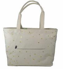 NWT Kate Spade Weddling Belles hashtag tote New Auth Canvas Bag cream gold $148