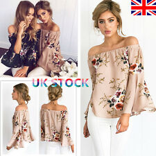 UK Women Girls Off Shoulder Bandeau Tops Oversized Long Slash Sleeve Blouse 8-22