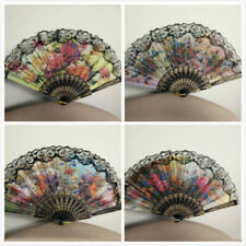 Vintage Folding Embroidered Spanish Flower Floral Fabric Lace Dancing Hand Fan