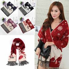 Women Christmas Cashmere Long Scarves Shawl Wrap Tassel Fall Cape Gifts EB SH