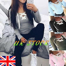 UK Lady Lace Up Criss Cross Front V Neck Crop Top Stretchy Long Sleeve Tee Shirt