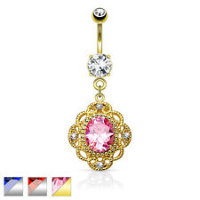 Oval CZ Tribal Floral Design Dangle Surgical Steel Belly / Navel Ring