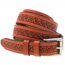 """1 1/8"""" Chestnut English Bridle Leather Embossed Belt Roller Buckle Made In USA"""