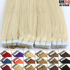 Long Seamless Tape in Remy Real Human Hair Extensions Virgin Skin Weft US STOCK