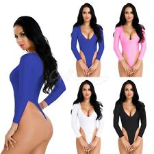 Women High Cut Thong Leotard Lingerie Bodysuit Plunge V Neck Bodycon Leotard Top