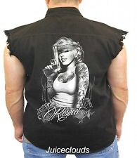Marilyn Monroe Sleeveless Denim Vest Respect Gangster Pistol Tattoo Biker