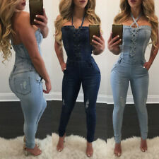 Women Sexy Denim Bodycon Halter Jumpsuit Romper Overall Skinny Long Pants Jeans