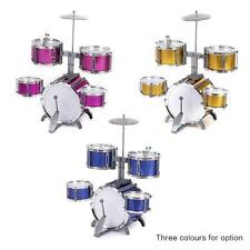 Compact Size Drum Set Children 5 Drums with Cymbal Stool Drum Sticks Pink O7W4
