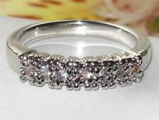 womans ELEGANT  STONE ETERNITY  SIMULATED DIAMOND RING PLATINUM PLATED  bn1069