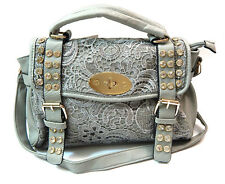 Women Rhinestone Lace Faux Leather Handbag Purse Shoulder Bag Satchel Grey Brown