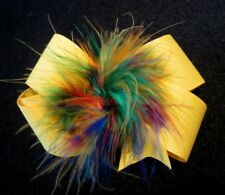Girls Baby Boutique Hair Bow Marabou Puff Yellow Rainbow Feather Hairbow Pageant