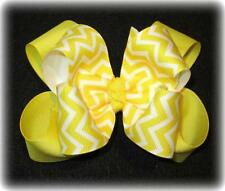 Yellow Chevron Boutique Hair Bow Girls Big Double Layer Hairbows Pageant Party