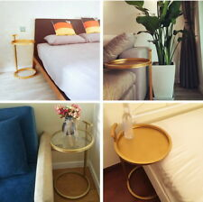 H70CM Modern Gold Metal Side Table Bedside Sofa Side Table w/Glass Top - 2 Style