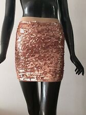 NWT BCBG Max Azria Percy mini skirt sequin rose gold  size XS - $178