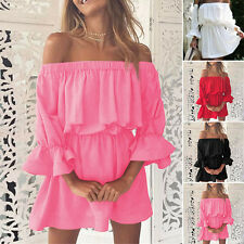 Summer Womens Casual Half Puff Sleeve Stretchy Off shoulder Party Beach Dress VV