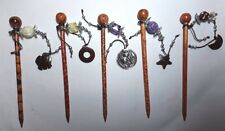 Hair Pin Barrettes Wood Stick Wooden Handmade Handpainted Floral Elephant