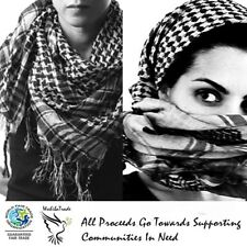 Authentic Keffiyeh Kufiya Shemagh Palestinian Head Scarf Made in Palestine White