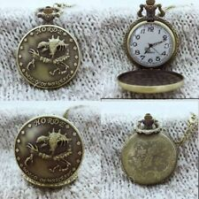 Vintage Pocket Watch Quartz Pendant Chain Retro Gift Design Brass Casual Men