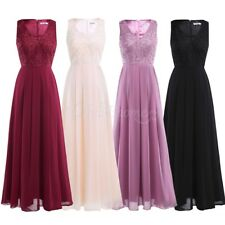 Women Formal V Bridesmaid Dress Long Cocktail Evening Party Prom Wedding Gown