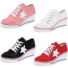 Women's Canvas Low Top Platform Wedge Heel Shoes Lace Up Trainers Boots Sneakers