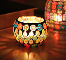 Colors Glass Candle Holder Tea Light Party Romantic Candlestick Dinner Decor