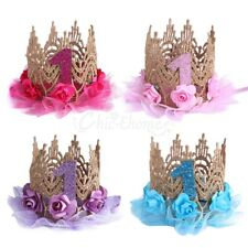 Princess Birthday Crown Lace Rose Tiara Headband for Baby Girl Party Hair Bands